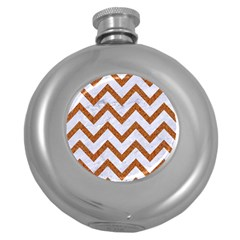 Chevron9 White Marble & Rusted Metal (r) Round Hip Flask (5 Oz) by trendistuff