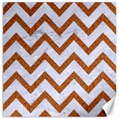 Chevron9 White Marble & Rusted Metal (r) Canvas 16  X 16   by trendistuff
