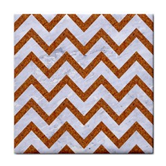 Chevron9 White Marble & Rusted Metal (r) Face Towel by trendistuff