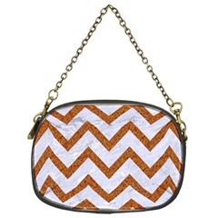 Chevron9 White Marble & Rusted Metal (r) Chain Purses (one Side)  by trendistuff