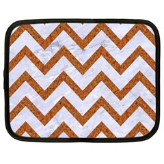 Chevron9 White Marble & Rusted Metal (r) Netbook Case (xxl)  by trendistuff