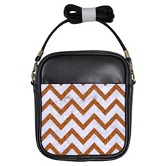 Chevron9 White Marble & Rusted Metal (r) Girls Sling Bags by trendistuff