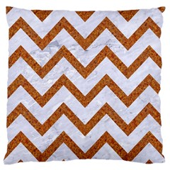 Chevron9 White Marble & Rusted Metal (r) Large Cushion Case (one Side) by trendistuff
