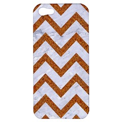 Chevron9 White Marble & Rusted Metal (r) Apple Iphone 5 Hardshell Case by trendistuff