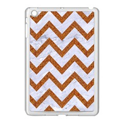 Chevron9 White Marble & Rusted Metal (r) Apple Ipad Mini Case (white) by trendistuff