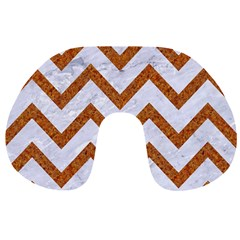 Chevron9 White Marble & Rusted Metal (r) Travel Neck Pillows by trendistuff