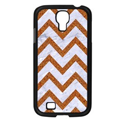 Chevron9 White Marble & Rusted Metal (r) Samsung Galaxy S4 I9500/ I9505 Case (black) by trendistuff