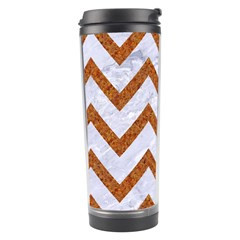 Chevron9 White Marble & Rusted Metal (r) Travel Tumbler by trendistuff