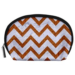 Chevron9 White Marble & Rusted Metal (r) Accessory Pouches (large)