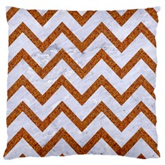 Chevron9 White Marble & Rusted Metal (r) Large Flano Cushion Case (two Sides) by trendistuff