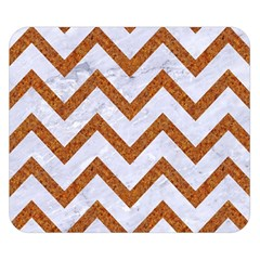 Chevron9 White Marble & Rusted Metal (r) Double Sided Flano Blanket (small)  by trendistuff