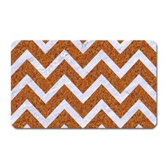 Chevron9 White Marble & Rusted Metal Magnet (rectangular) by trendistuff