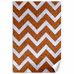 Chevron9 White Marble & Rusted Metal Canvas 20  X 30   by trendistuff