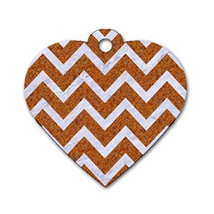 Chevron9 White Marble & Rusted Metal Dog Tag Heart (two Sides) by trendistuff