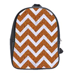 Chevron9 White Marble & Rusted Metal School Bag (large) by trendistuff