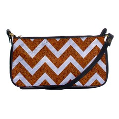 Chevron9 White Marble & Rusted Metal Shoulder Clutch Bags by trendistuff