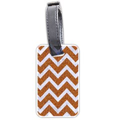Chevron9 White Marble & Rusted Metal Luggage Tags (one Side)  by trendistuff