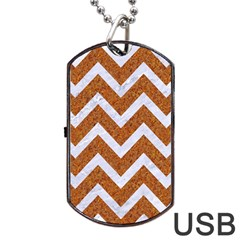 Chevron9 White Marble & Rusted Metal Dog Tag Usb Flash (one Side) by trendistuff