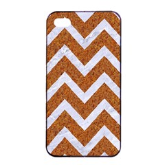 Chevron9 White Marble & Rusted Metal Apple Iphone 4/4s Seamless Case (black) by trendistuff
