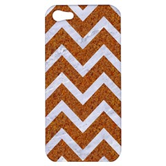 Chevron9 White Marble & Rusted Metal Apple Iphone 5 Hardshell Case by trendistuff