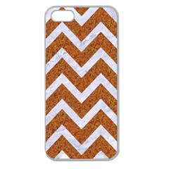 Chevron9 White Marble & Rusted Metal Apple Seamless Iphone 5 Case (clear) by trendistuff