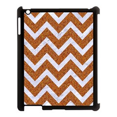 Chevron9 White Marble & Rusted Metal Apple Ipad 3/4 Case (black) by trendistuff