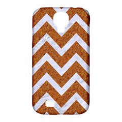 Chevron9 White Marble & Rusted Metal Samsung Galaxy S4 Classic Hardshell Case (pc+silicone)