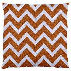 Chevron9 White Marble & Rusted Metal Large Flano Cushion Case (two Sides) by trendistuff