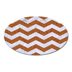 Chevron3 White Marble & Rusted Metal Oval Magnet by trendistuff
