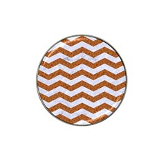 Chevron3 White Marble & Rusted Metal Hat Clip Ball Marker (4 Pack) by trendistuff