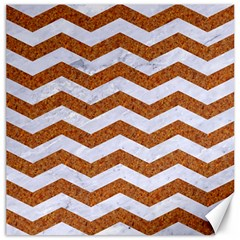 Chevron3 White Marble & Rusted Metal Canvas 16  X 16   by trendistuff