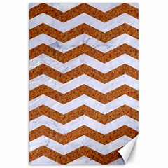 Chevron3 White Marble & Rusted Metal Canvas 20  X 30   by trendistuff