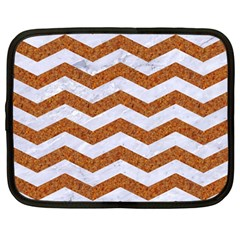 Chevron3 White Marble & Rusted Metal Netbook Case (large) by trendistuff