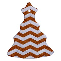 Chevron3 White Marble & Rusted Metal Christmas Tree Ornament (two Sides) by trendistuff