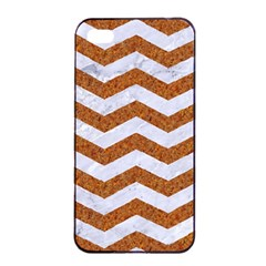 Chevron3 White Marble & Rusted Metal Apple Iphone 4/4s Seamless Case (black) by trendistuff