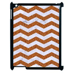 Chevron3 White Marble & Rusted Metal Apple Ipad 2 Case (black) by trendistuff