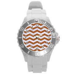 Chevron3 White Marble & Rusted Metal Round Plastic Sport Watch (l) by trendistuff