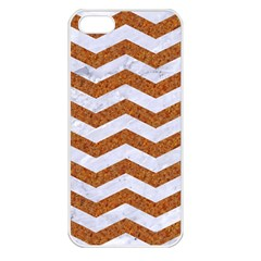 Chevron3 White Marble & Rusted Metal Apple Iphone 5 Seamless Case (white) by trendistuff