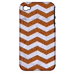 Chevron3 White Marble & Rusted Metal Apple Iphone 4/4s Hardshell Case (pc+silicone) by trendistuff