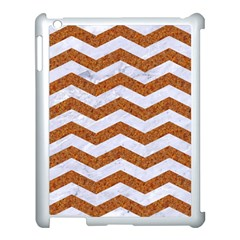 Chevron3 White Marble & Rusted Metal Apple Ipad 3/4 Case (white) by trendistuff