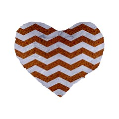 Chevron3 White Marble & Rusted Metal Standard 16  Premium Heart Shape Cushions by trendistuff