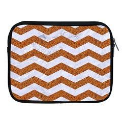 Chevron3 White Marble & Rusted Metal Apple Ipad 2/3/4 Zipper Cases by trendistuff