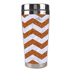 Chevron3 White Marble & Rusted Metal Stainless Steel Travel Tumblers by trendistuff