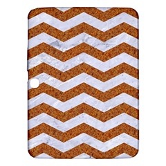 Chevron3 White Marble & Rusted Metal Samsung Galaxy Tab 3 (10 1 ) P5200 Hardshell Case  by trendistuff