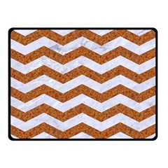 Chevron3 White Marble & Rusted Metal Double Sided Fleece Blanket (small)  by trendistuff