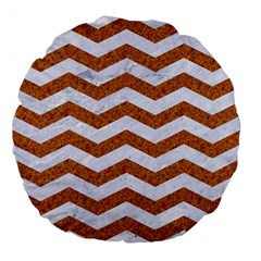 Chevron3 White Marble & Rusted Metal Large 18  Premium Flano Round Cushions by trendistuff