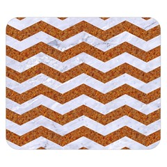 Chevron3 White Marble & Rusted Metal Double Sided Flano Blanket (small)  by trendistuff