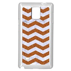 Chevron3 White Marble & Rusted Metal Samsung Galaxy Note 4 Case (white) by trendistuff