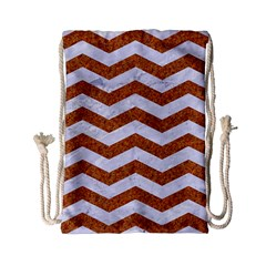 Chevron3 White Marble & Rusted Metal Drawstring Bag (small) by trendistuff