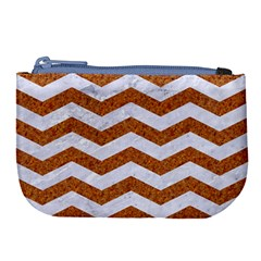 Chevron3 White Marble & Rusted Metal Large Coin Purse by trendistuff